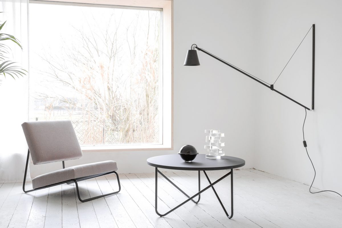 VVV Table - a casual, precise and steady side table. High-quality linoleum tabletop with three steel tubes curved into a V-shape and welded to form a frame.